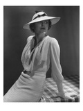 Vogue - January 1935 - Model in White Knit Dress Photographic Print by Lusha Nelson