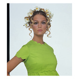Vogue - January 1968 - Lauren Hutton with Daisies in her Hair Regular Photographic Print by Gianni Penati