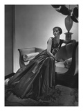 Vogue - December 1934 - Woman in Maggy Rouff Gown on Sofa Photographic Print by Horst P. Horst