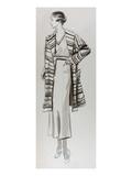 Vogue - June 1934 - Woman in Striped Coat Regular Giclee Print by  Lemon