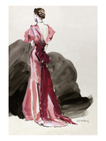 Vogue - October 1934 - Red Vionnet Evening Gown Giclee Print by René Bouét-Willaumez