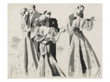 Vogue - January 1935 - Three Dancing Couples Regular Giclee Print by Pierre Mourgue