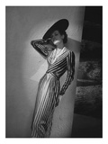 Vogue - March 1938 - Vertical Striped Dress by Lelong Regular Photographic Print by André Durst