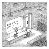 A robber holds up a liquor store. The clerk is a corkscrew. - New Yorker Cartoon Premium Giclee Print by John O'brien