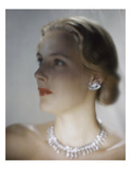 Vogue - October 1946 - Model in Van Cleef & Arpels Diamonds Photographic Print by Erwin Blumenfeld