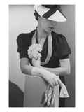 Vogue - April 1936 - Woman Holding Small Bouquet Regular Photographic Print by Lusha Nelson