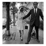 WWD - September 1966 - Jackie Kennedy Walking Dog Photographic Print by Nick Machalaba