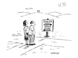 (A middle-aged couple stand at a road sign pointing to two different direc… - New Yorker Cartoon Premium Giclee Print by David Sipress