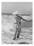 Vogue - July 1972 - Diana Ewing Walking in the Surf Regular Photographic Print by Shannon John