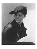 Vogue - March 1935 - Woman in Black Straw Hat Regular Photographic Print by Lusha Nelson