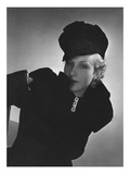 Vogue - October 1935 - Cora Hemmet in Black Velvet Regular Photographic Print by Horst P. Horst