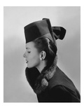 Vogue - July 1942 - Bettina Bolegard Modeling a Hat Premium Photographic Print by Horst P. Horst