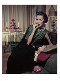 Glamour - December 1956 - Woman Smoking at Home Photographic Print by Sante Forlano