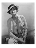 Vogue - January 1935 - Model in Grosgrain Hat Regular Photographic Print by Lusha Nelson