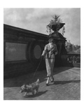 Vogue - October 1934 - Woman Walking Dog in Central Park Regular Photographic Print by Remie Lohse