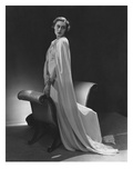 Vogue - December 1934 - Murial Williams in Flowing White Cape Photographic Print by Lusha Nelson