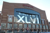 New York Giants and New England Patriots - Super Bowl XLVI - February 5, 2012: Lucas Oil Stadium Photographic Print by Ben Liebenberg