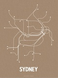 Sydney (Packing Brown & White) Serigraph by  Line Posters