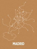 Madrid (Orange & Pearl White) Serigraph by  LinePosters