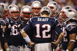 New York Giants and New England Patriots - Super Bowl XLVI - February 5, 2012: Tom Brady Photographic Print by Paul Sancya