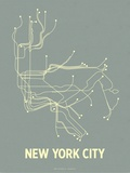 New York City (Steel Blue &amp; Yellow) Serigraph by  Line Posters