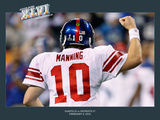 New York Giants and New England Patriots - Super Bowl XLVI - February 5, 2012: Eli Manning - Commem Photographic Print