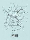Paris (Light Blue & Dark Gray) Serigrafie von  Line Posters