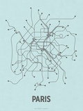 Paris (Light Blue & Dark Gray) Serigraph by  Line Posters