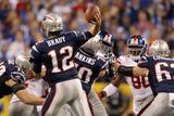 New York Giants and New England Patriots - Super Bowl XLVI - February 5, 2012: Tom Brady Fotografisk trykk av Jeff Roberson