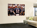 New York Giants and New England Patriots - Super Bowl XLVI - February 5, 2012: Tom Brady Poster by Paul Sancya