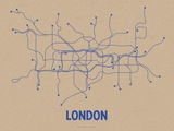 London (Oatmeal &amp; Blue) Serigraph by  Line Posters