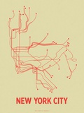 New York City (Cement Green &amp; Orange) Serigraph by  Line Posters