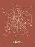 Plan de Paris, France : beige sur fond rouge brique - réseau de transports Sérigraphie par  LinePosters
