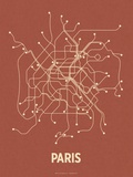 Paris (Brick Red & Tan) Serigraph by  Line Posters