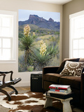 Spanish Dagger in Blossom Below Crown Mountain, Chihuahuan Desert, Big Bend National Park, Texas Print by Scott T. Smith