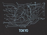 Tokyo (Black Licorice & Light Blue) Serigraph by  Line Posters