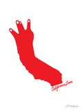 California Love (red on white) - Un amour de Califonie, rouge sur blanc Affiches par  Ashkahn