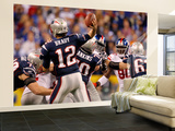 New York Giants and New England Patriots - Super Bowl XLVI - February 5, 2012: Tom Brady Wall Mural – Large by Jeff Roberson