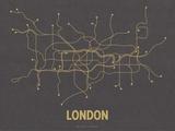 Plan de Londres, Grande-Bretagne : jaune moutarde sur gris sombre - réseau de transports Sérigraphie par  Line Posters
