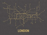 London (Dark Gray & Mustard) Serigraph by  Line Posters