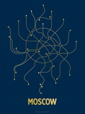 Moscow (Navy &amp; Gold) Serigraph by  Line Posters