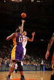 New York Knicks v Los Angeles Lakers, New York, NY, Feb 10: Jeremy Lin, Andrew Bynum Photographic Print