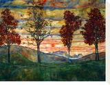 Four Trees, 1917 Stretched Canvas Print by Egon Schiele