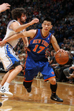 New York Knicks v Minneapolis Timberwolves, Minneapolis, MN, Feb 11: Jeremy Lin, Ricky Rubio Photographic Print by David Sherman