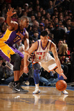 New York Knicks v Los Angeles Lakers, New York, NY, Feb 10: Jeremy Lin, Andrew Bynum Photographic Print by Nathaniel S. Butler