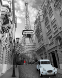 Paris-Red Girl Blue Car Prints