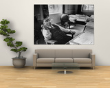 Mayor Fiorello LaGuardia Blowing Smoke Rings Sitting at Desk in His Office Prints by William C. Shrout