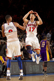 New York Knicks v Los Angeles Lakers, New York, NY, Feb 10: Jeremy Lin, Jared Jeffries Photographic Print by Nathaniel S. Butler