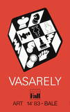Expo Art Basel 83 - Echecs fond rouge Collectable Print by Victor Vasarely