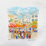 Paris, Montmartre La Place Du Tertre À Collectable Print by Urbain Huchet